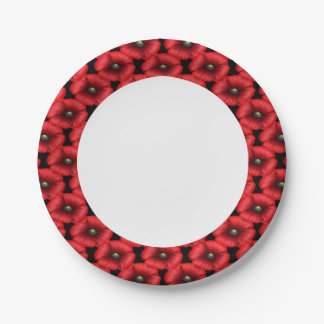 Red poppy cluster edge buffet party paper plate 7 inch paper plate