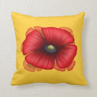 Red Poppy Cluster Throw Pillow - double sided