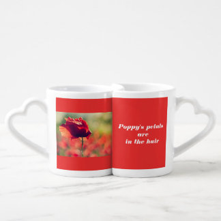 Red poppy coffee mug set