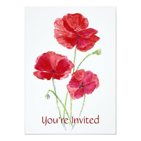 Red Poppy - Custom Party Invitation