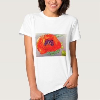 Red Poppy Drawing Tee-Shirts T Shirts
