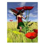 Red Poppy Fairy in a Summer Field Postcard