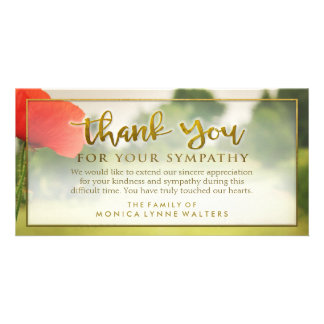 Red Poppy Field Golden Thank You Sympathy Card Picture Card