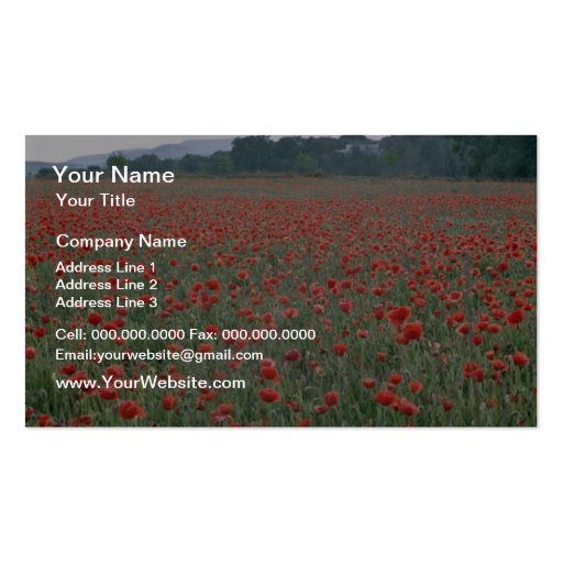 Red Poppy field, Kent, England flowers Business Cards
