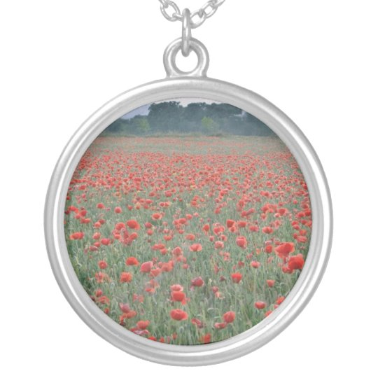 Red Poppy field, Kent, England flowers Silver Plated