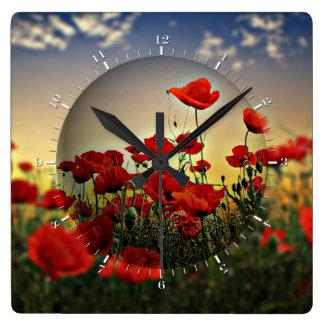Red Poppy Field Wallclocks