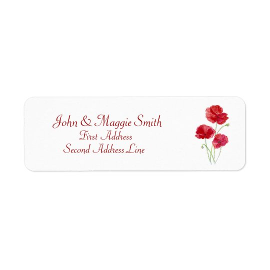 Red Poppy Floral- Nature -  Address Label