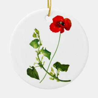Red Poppy Flower Christmas Ornament