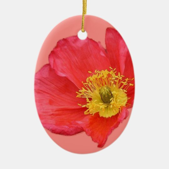 Red Poppy Flower Christmas Ornament
