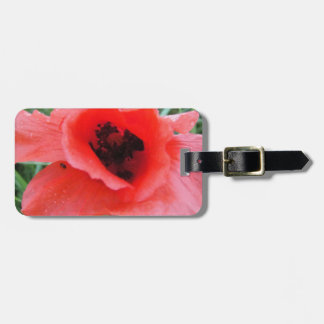 Red poppy flower cup luggage tag