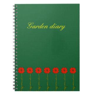 Red poppy flower design - Elegant Spiral Notebook
