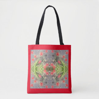 Red Poppy Flower Fractal Tote Bag