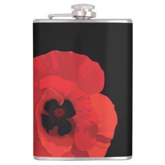 Red Poppy Flower Hip Flask