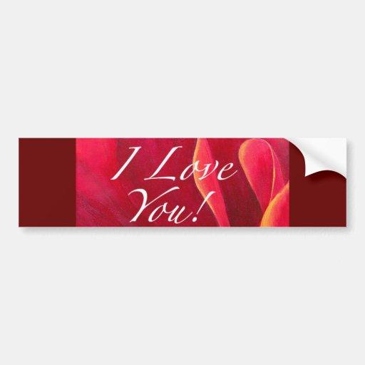 Red Poppy Flower Love Greetings Bumper Stickers