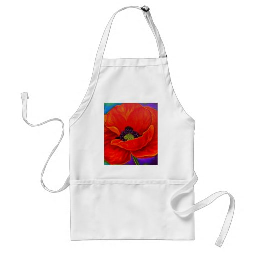 Red Poppy Flower Painting - Multi Apron