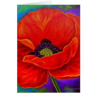 Red Poppy Flower Painting - Multi Greeting Card