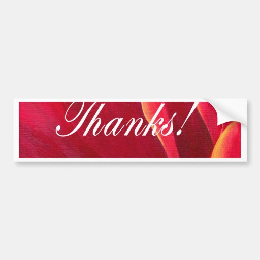 Red Poppy Flower Painting with Thank You Bumper Sticker