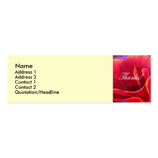 Red Poppy Flower Painting with Thank You Double-Sided Mini Business Cards (Pack Of 20)
