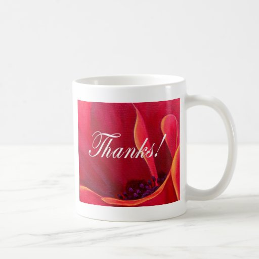 Red Poppy Flower Painting with Thank You Coffee Mugs