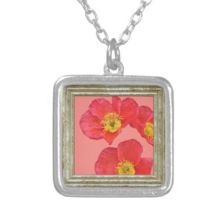 Red Poppy Flower Silver Plated Necklace