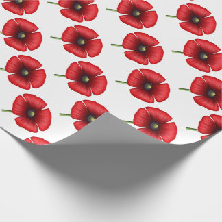 Red poppy flower single stem wrapping paper