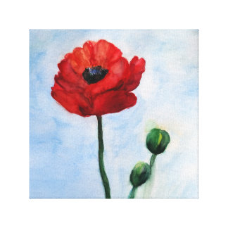 Red Poppy Flower Wall Decor Gallery Wrapped Canvas