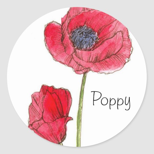 Red Poppy Flower Watercolor Botanical Art Classic Round