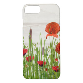 red poppy flower with cattails iPhone 8/7 case