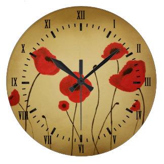 Red Poppy Flowers Black Roman Numerals Large Clock