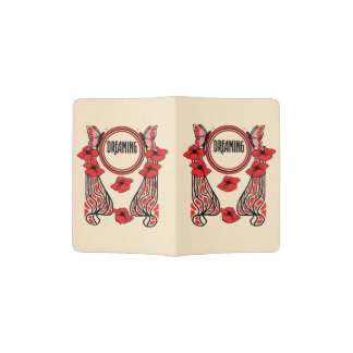 Red Poppy Flowers Butterfly Abstract Dreaming Passport Holder
