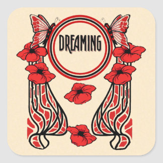 Red Poppy Flowers Butterfly Abstract Dreaming Square Sticker