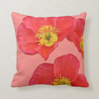 Red Poppy Flowers Cushion