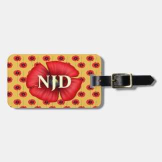 Red Poppy Flowers Custom Initials Luggage Tag