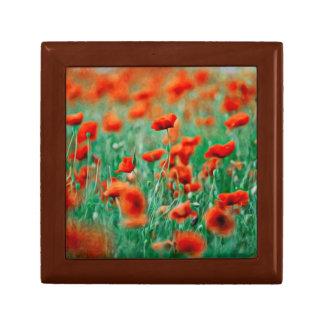 Red Poppy Flowers Jewelry Box