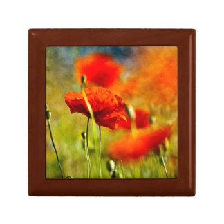 Red Poppy Flowers Gift Box