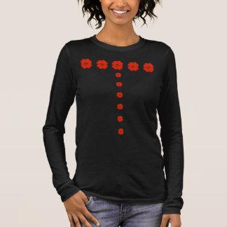 Red poppy flowers - green center long sleeve T-Shirt