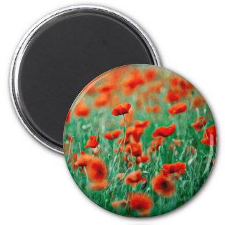 Red Poppy Flowers Fridge Magnet