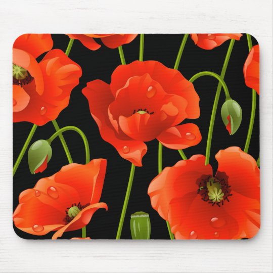 Red Poppy Flowers Mouse Mat