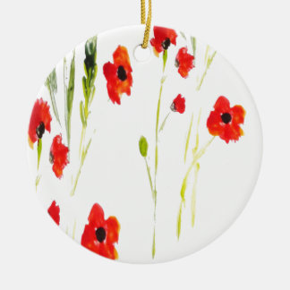 Red Poppy Flowers Painting Christmas Ornament