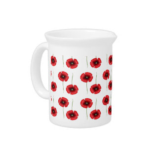 Red Poppy Flowers pattern jug Pitcher