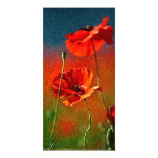 Red Poppy Flowers Custom Photo Card