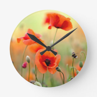 Red Poppy Flowers Round Clock