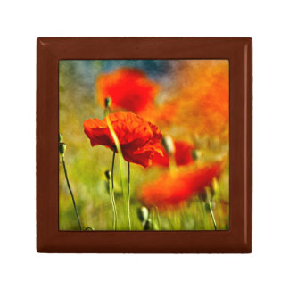 Red Poppy Flowers Small Square Gift Box