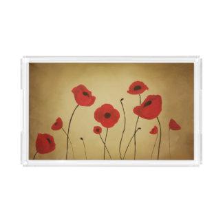 Red Poppy Flowers Vanity Tray