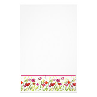 Red Poppy Flowers Watercolor Flowers Stationery