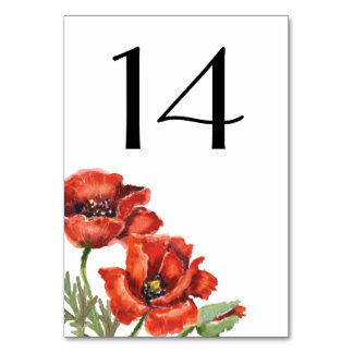 Red Poppy Flowers Wedding Card