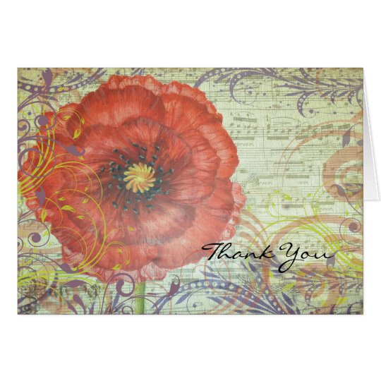 RED POPPY Folded Thank You Card