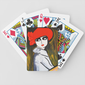 RED POPPY GIRL BICYCLE PLAYING CARDS