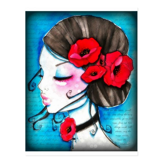 Red Poppy girl Post card