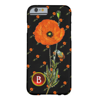 RED POPPY IN BLACK RUBY GEMSTONE  MONOGRAM BARELY THERE iPhone 6 CASE